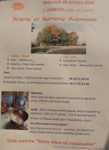 Affiche Atelier Relax Yoga nidra son et voix 28-10-20 Ambon